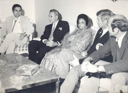 At a luncheon hosted by the Governor of Sind Province, Begum Liaquat Ali Khan, the astronauts chat with the Governor. Second from the left is U.S. Charge d'Affairs Sidney Sober.