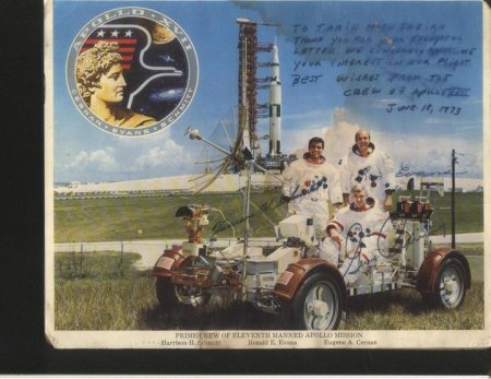 This rare picture, signed by Apollo XVII crew is shared by Mr. Tariq Moen from Karachi. He received this picture in response to his letter, sent to the crew back in 1973, when he was a young college boy.