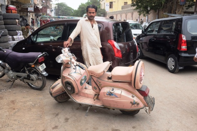 8 - Shehzad poses with his pink 83 model Vespa