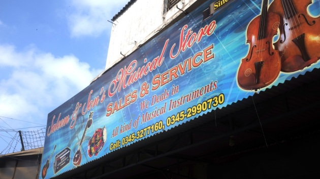 1 - The front board on Saleem and Sons Music shop