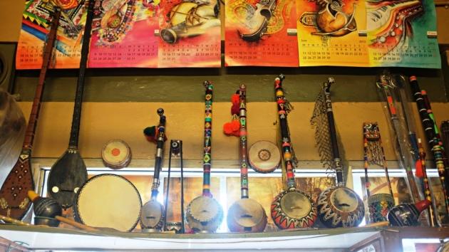 2 - Colorful sarangis on display at Sohail Music Palace